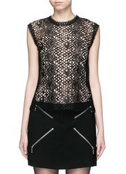 Alexander Wang Leather Trim Sleeveless Mesh Lace Top Black