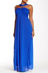 Sangria O Ring Halter Gown Petite Blue