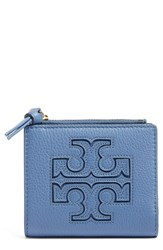 Tory Burch Women's 'Mini Harper' Leather Wallet Blue Wallis Blue