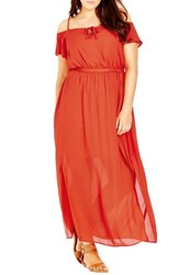 City Chic Plus Size Women's Cold Shoulder Maxi Dress Tomato
