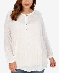 Lucky Brand Trendy Plus Size Lace Blouse Natural
