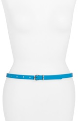 Halogen Skinny Leather Belt Bright Blue
