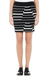 Band Of Outsiders Irregular Striped Compact Knit Skirt Colorless Size