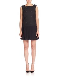 Red Valentino Double Breasted Drop Waist Dress Black