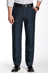 Louis Raphael Solid Linen Blend Straight Fit Flat Front Pant Blue