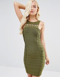 Forever Unique Rochelle Bandage Dress With Twists Khaki Green