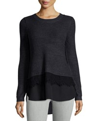 Neiman Marcus Crew Neck Mixed Media Pullover Sweater Charcoal