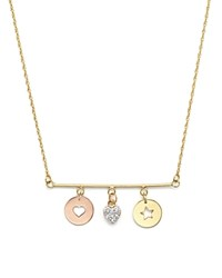 Jane Basch 14K Gold Charm Disc Bar Necklace With Diamond Heart Charm 16 Multi