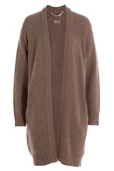 81 Hours By Dear Cashmere Merino Wool Cardigan Brown