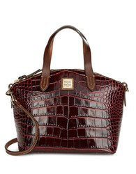 Dooney And Bourke Small Crocodile Embossed Leather Satchel Bordeaux