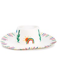 Mira Mikati Rainbow And Cactus Embroidered Straw Hat White Straw Multi Coloured
