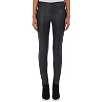 Saint Laurent Women's Stretch Lambskin Leggings Black Blue Black Blue