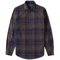 Polo Ralph Lauren Williamsburg Brushed Cotton Plaid Shirt Brown