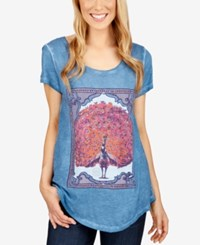 Lucky Brand Peacock Graphic T Shirt Blue Ashes