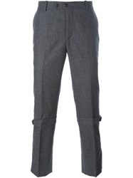 Alexander Mcqueen Strap Detailed Slim Fit Trousers Grey