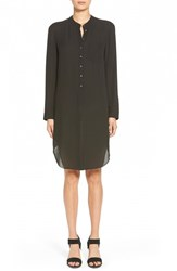 Women's Hinge Long Sleeve Collarless Shirtdress Black