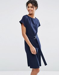 Asos Belted Midi Dress With D Ring Belt Navy