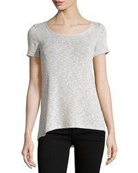 Casual Couture Short Sleeve Pleated Tee Light Gray