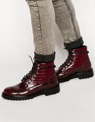 Asos Lace Up Boots In Burgundy With Crocodile Effect