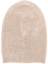 Rick Owens Ribbed Beanie Nude And Neutrals