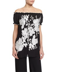 Naeem Khan Off The Shoulder Floral Embroidered Peasant Top Black White