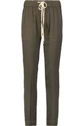 Enza Costa Crepe Tapered Pants Army Green