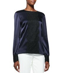 St. John Collection Liquid Satin Blouse With Lace Navy Caviar