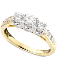 Macy's Three Stone Diamond In Two Tone 14K Gold 1 Ct. T.W.