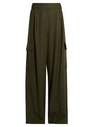 Tibi Owen High Rise Wide Leg Trousers Khaki
