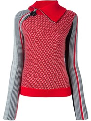 Carven Zipped Collar Jumper Red