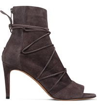 Vince Adisa Tie Up Suede Booties Grey