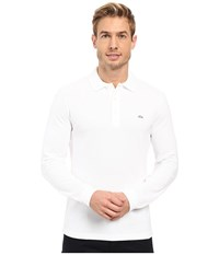 Lacoste Long Sleeve Stretch Grey Croc Pique Polo White Men's Clothing