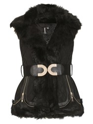 Izabel London Luxe Padded Gillet With Faux Fur Collar Black