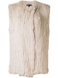 Dolce Cabo Fur Waistcoat Nude Neutrals