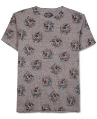 Jem Men's Mickey And Goofy Crest Print T Shirt Charcoal Snow