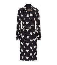 Burberry The Sandringham Long Heart Print Trench Coat Female Black