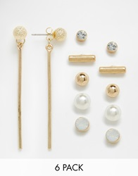 New Look Pearl And Diamante Multi Pack Earrings Gold