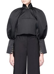 Ellery 'Corsette' Balloon Sleeve Eyelet Cropped Top Black