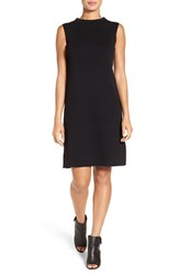 Eileen Fisher Petite Women's Funnel Neck Washable Wool Crepe Shift Dress Black