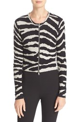 Tracy Reese Women's Zebra Print Crop Cotton Cardigan
