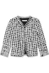 Oscar De La Renta Appliqued Tweed And Organza Jacket Black