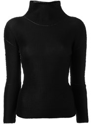Issey Miyake Cauliflower High Neck Top Black