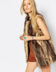 Asos Longline Gilet In Vintage Faux Fur Brown