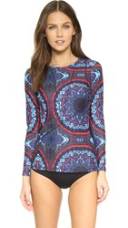 Cynthia Rowley Printed Long Sleeve Rash Guard Navy Paisley