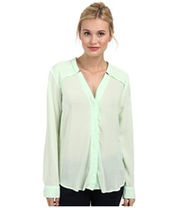 Splendid Rayon And Rib Long Sleeve Shirt Pistachio Women's Long Sleeve Button Up Green