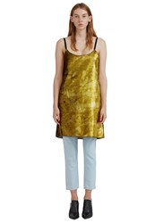 Eckhaus Latta Acid Velvet Shift Mini Dress Gold