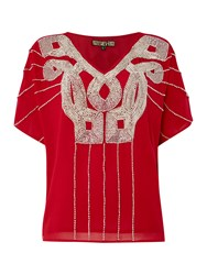 Biba Logo Embellished V Neck Blouse Red