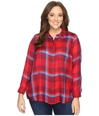 Lucky Brand Plus Size Button Side Body Red Multi Women's Clothing