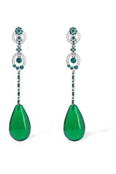 Oscar De La Renta Silver Tone Crystal And Resin Clip Earrings Emerald