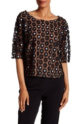Tracy Reese Applique Flower Mesh Shirt Black